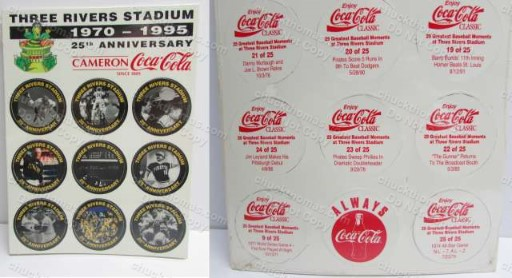 Three Rives Stadium 25th Anniversary Set of 25 COKE Cardboard Pogs