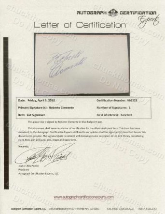 Roberto Clemente Signature Letter of Authenticity from Autograph Certification Experts