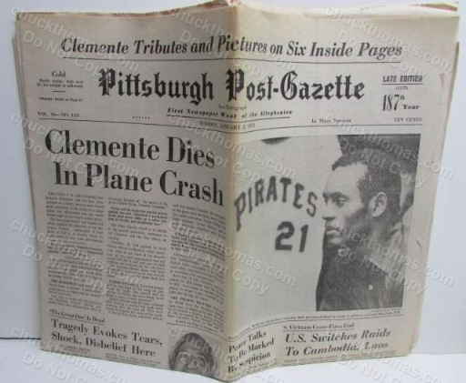 1973 Post-Gazete ORIGINAL Newspaper Clemente Dies in Plane Crash