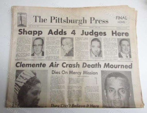1973 January 2 The Death of Roberto Clemente Actual Pittsburgh Press ORIGINAL YELLOWED Newspaper