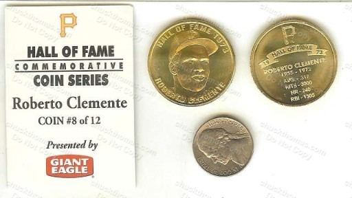 Roberto Clemente Giant Eagle Hall of Fame Brass Like Coin