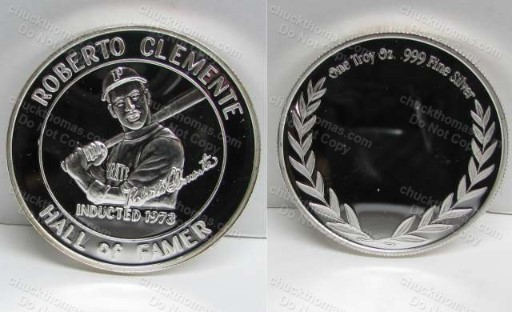 Roberto Clemente Hall of Fame Coin .999 PURE Silver 1 oz