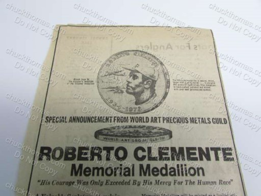 Sterling Silver Coin Roberto Clemente