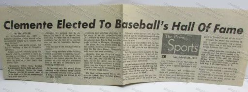 Clemente Elected to the Hall of Fame Clipping