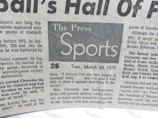 Clemente Newspaper Elected to the Hall of Fame