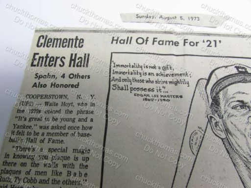 Hall of Fame Clemente Clipping