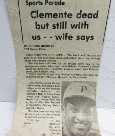 Clemente Dead but still with us says wife News Clipping
