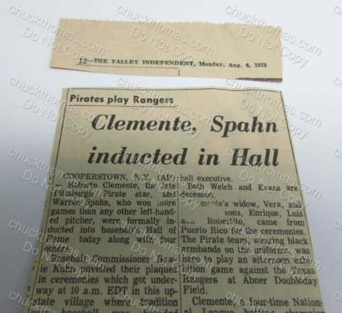 Inducted into the Hall Clemente Spahn Clipping