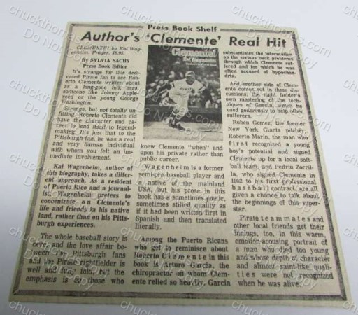 Author's Clemente's Real Hit Book Ad Clipping