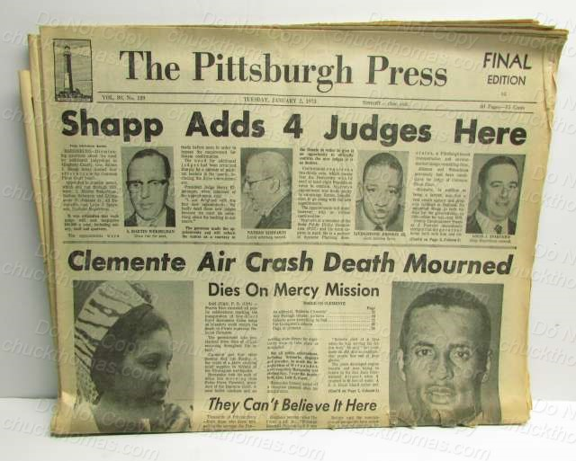 Clemente Death Newspaper Pittsburgh Press
