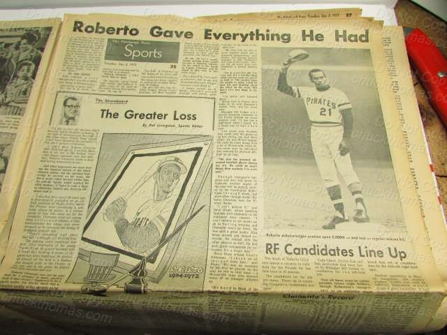 Pittsburgh Press Newspaper January 2, 1973 Clemente's Death