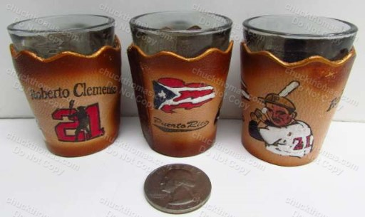 Roberto Clemente Shot Glass with Leather Covering