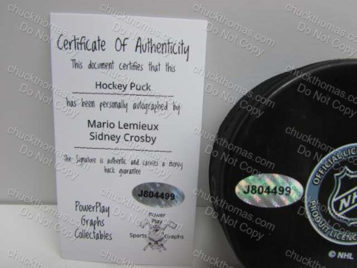 Crosby and Lemieux Certificate of Authenticity
