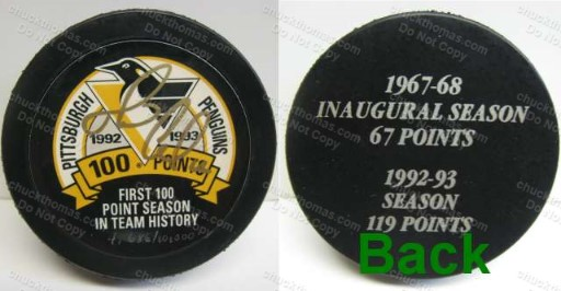 Mario Lemieux Autographed 100 Point Season Puck