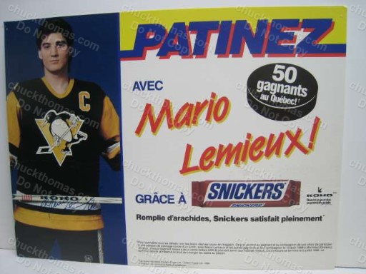 Mario Lemieux Canadian Snickers Candy Bar Display