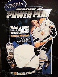 Mario Lemieux Stroh's Beer Display Ad Piece