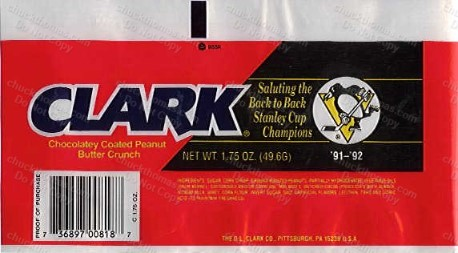 Pen's Back To Back Stanley Cup Clark Bar Wrapper