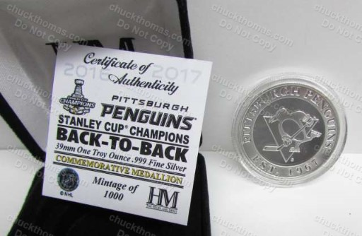 Penguins 2017 Back to Back Stanley Cup Champions 1 oz PURE Silver Coin from Highland Mint