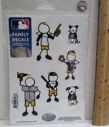 Pittsburgh Pirate Baseball Pack of Family Decals for your Cars Rear Window