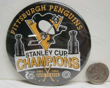 Penguins 1991 - 1992 Back to Back Stanley Cup Champions Pin Back pin