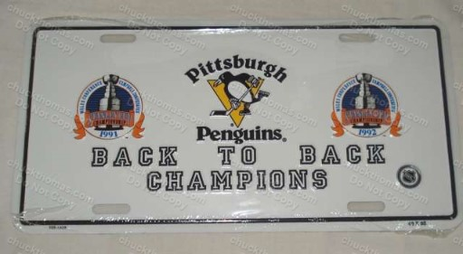 Penguins 1991-92 Back To Back Champions NEW Metal License Plate