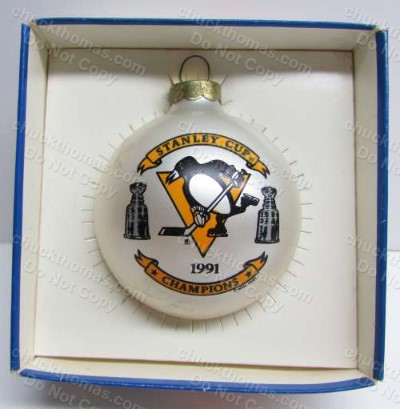 Penguin Hockey 1991 Stanley Cup Champions White Christmas Tree Bulb Ornament