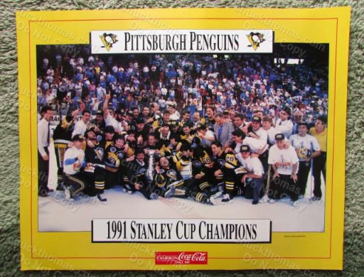 Penguins 1991 Stanley Cup Champions 16 x 20 Poster Sponsored by Coca Cola