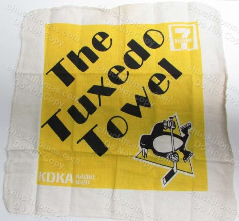 An ORIGINAL Penguin Hockey Tuxedo Cheering Towel from the 1980s