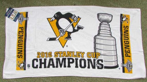 White Beach Towel Penguins 2016 Stanley Cup Champions VERY Nice !