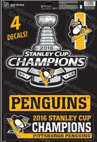 Pens 2016 Stanley Cup  Champions 4 Decal Sheet