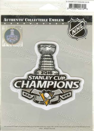 Penguins 2016 Stanley Cup Champions Cloth Patch