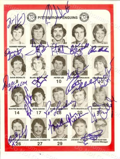 1978-79 Penguins Autographed 19 Team Players