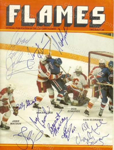 1984 Calgary Flames Signed Program with Coach Bob Johnson