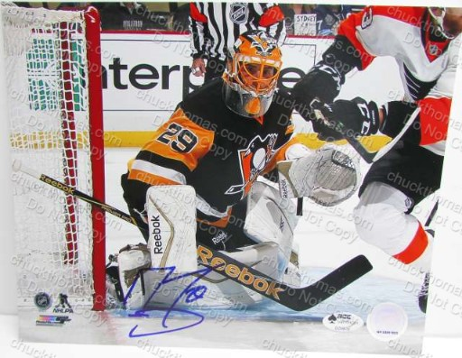 Marc Andre Fleury Autographed 8x10 Penguin Photo