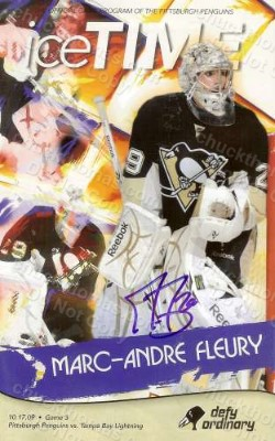 Penguin Goalie Marc Andre Feury Autographed Ice Time Magazine