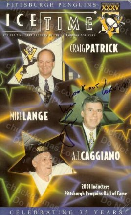Pens Radio Announcer Mike Lange Autographed Ice Time Program