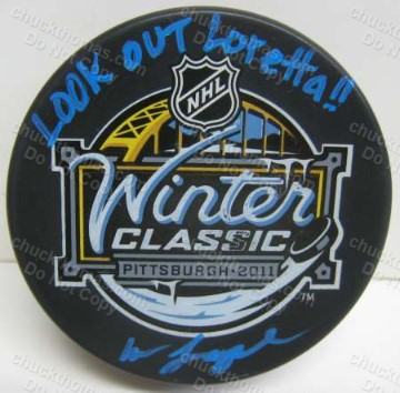 Penguin Radio Announcer Mike Lange Signed Winter Classic Puck