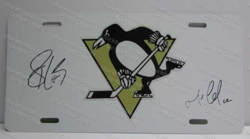 Sidney Crosby and Mario Lemieux Autographed License Plate
