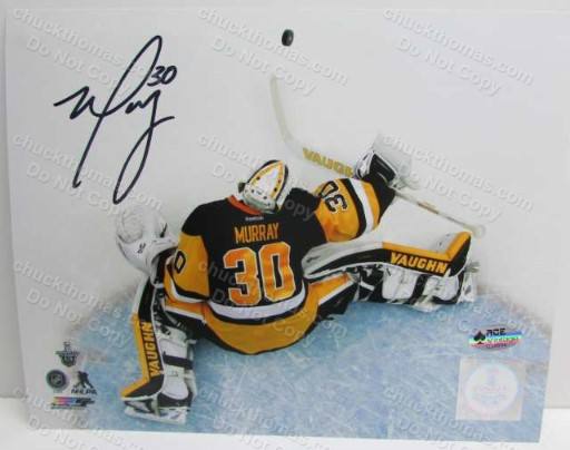 Penguin Goalie Matt Murray Autographed Over the Goal Photo with an ACE Certificate
