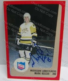 Mark Recchi Autographed lumberjack Card