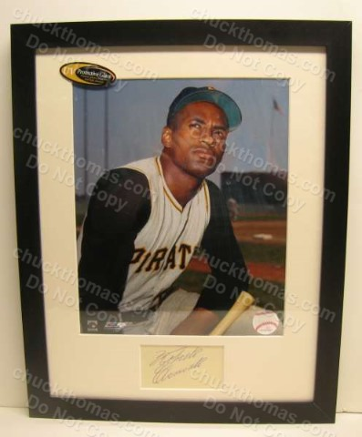 Roberto Clemente Framed and Matted Autographed Cut with DOUBLE Certification