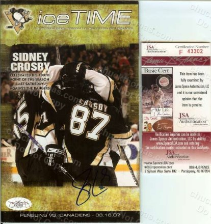 Sidney Crosby Autographed Ice Time Magazine Program with a Certificate of Authenticity from Jamse Spence