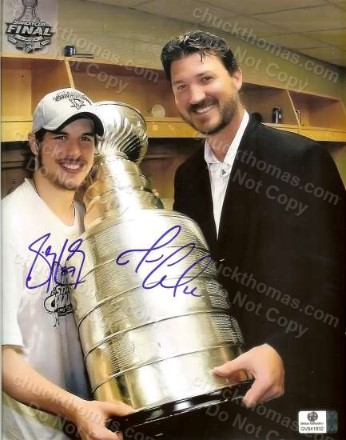 Sidney Crosby and Mario Lemieux Autographed Photo with a GAI Certificate