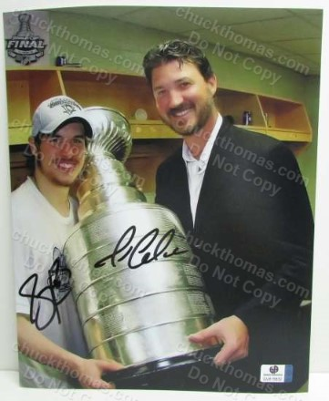 Sidney Crosby and Mario Lemieux Autographed Stanley Cup Photo with a Global COA