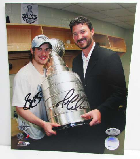 Mario Lemieux and Sidney Crosby Autograpehd Stanley Cup 8x10 Photo