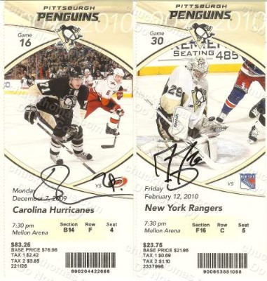 Penguin Player Photo Signed Game Tickets