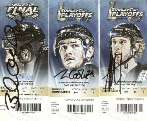 Penguin Player Signed Stanley Cup Tickets - Orpic Staal and Cooke