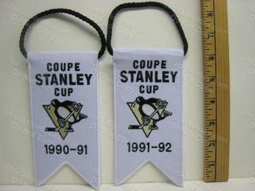 Penguins 1990-91 and 1991-92 Stanley Cup Mini Banners