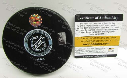 COAPRO Certificate for a Sidney Crosby Autographed Puck