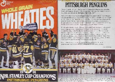 1991 Penguins Stanley Cup Champions Wheaties Box